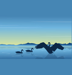Silhouette of swan at sunrise landscape vector