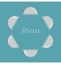 Silver platter cloche round frame flat design menu vector