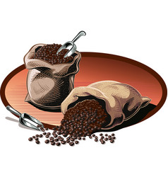 Two open bags of coffee vector