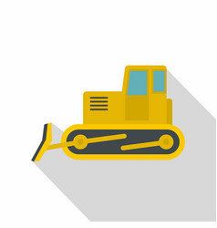 yellow bulldozer icon flat style vector image