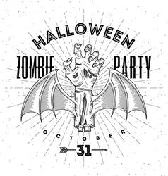 Zombie hand - halloween line art vector image