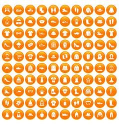 100 rags icons set orange vector