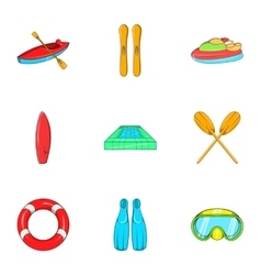 Swimming on water icons set cartoon style vector
