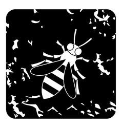 Bee icon grunge style vector image