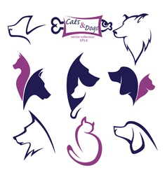 Cats and dogs collection vector