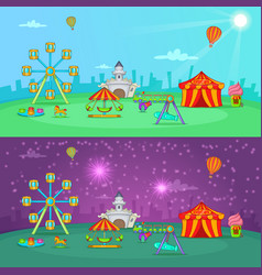 Circus banner set horizontal cartoon style vector
