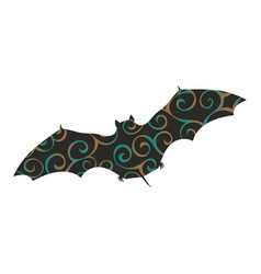 Bat mammal color silhouette animal vector