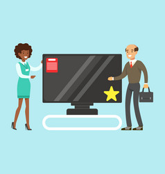 Man choosing tv with shop assistant help in vector