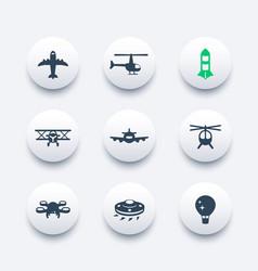 Aircrafts icons set aviation air transport vector