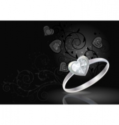 Silver ring on black background vector
