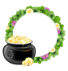 Clover wreath and pot with gold vector