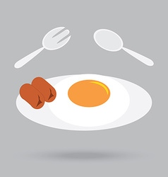 Fried egg and sausage breakfast in morning vector