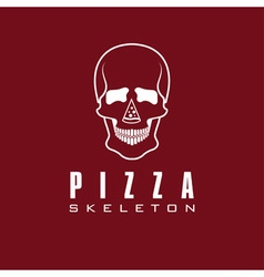 skull with slice of pizza vector image