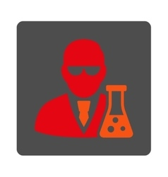Scientist with flask rounded square button vector