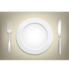 plate fork knife vector image