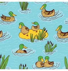 Seamless pattern with ducks vector