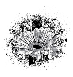 Flower with grunge vector