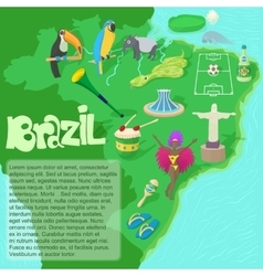 Brazil map concept cartoon style vector