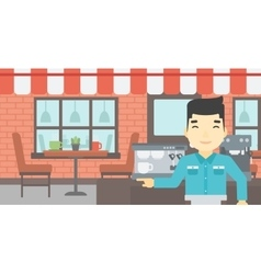 Barista standing near coffee machine vector