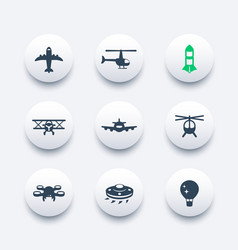 Aircrafts icons set aviation air transport vector