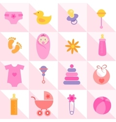 background with baby girl elements vector image vector image