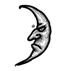Cartoon image of moon icon nighttime symbol vector