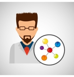 Character scientist chemistry molecule structure vector