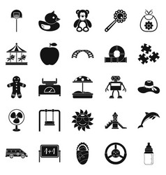 children spontaneity icons set simple style vector image vector image