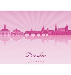 Dresden skyline in purple radiant orchid vector