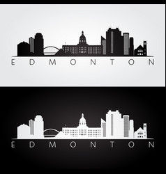 Edmonton skyline and landmarks silhouette vector