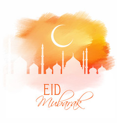 Eid mubarak design on watercolour texture vector