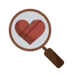 Heart love loupe search icon vector