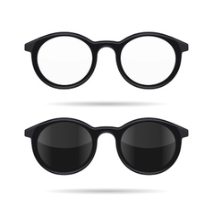 Hipster Glasses Set Transparent and Sunglasses vector image vector image