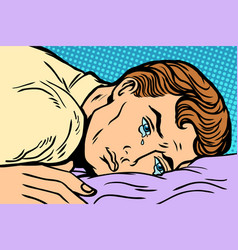 Man lying on bed depression grief and sadness vector
