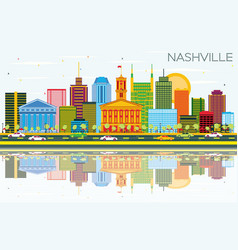 Nashville skyline with color buildings blue sky vector