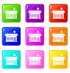 One storey house with two windows icons 9 set vector