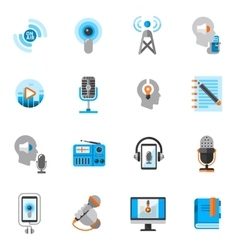 Podcast icons flat set vector