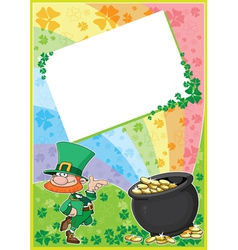rainbow clover card vector image