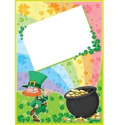 rainbow clover card vector image vector image
