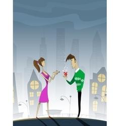 Romantic summer scene with cartoon characters vector