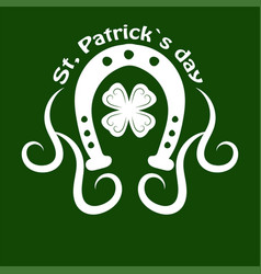 Saint patrick day symbol of horseshoe and four vector