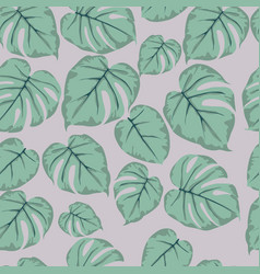 seamless pattern of green leaves monstera vector image vector image