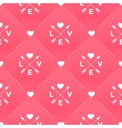 Seamless white pattern with Love heart and arrow vector image