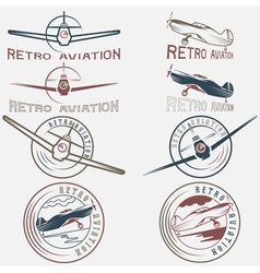Set of vintage labels retro aviaton vector