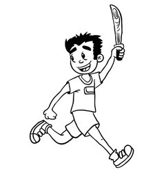 Simple black and white boy with wooden sword vector