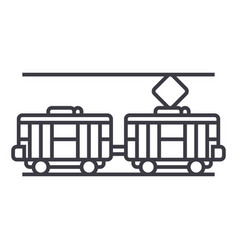 tram line icon sign on vector image