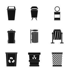 Trash bin icon set simple style vector