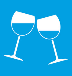 Two wine glasses icon white vector