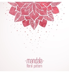 Watercolor pink lace floral pattern on white vector