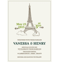 Wedding Invitation Card - Paris Theme vector image